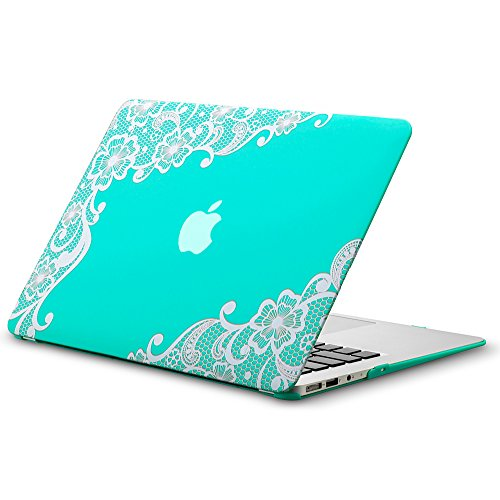 MacBook Air 13 inch Case A1466 A1369, Kuzy Rubberized Hard Cover (Older Version 2017, 2016) - LACE TEAL