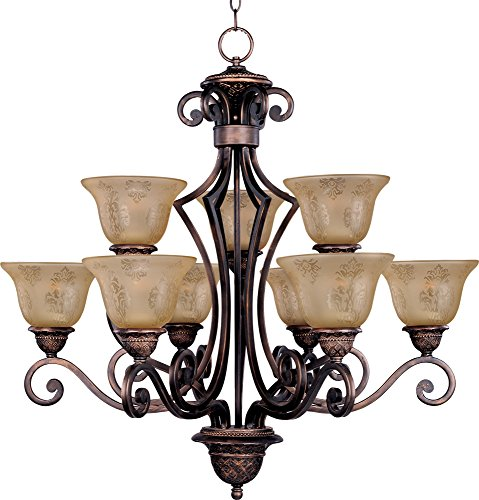 Maxim 11245SAOI Symphony 9-Light Chandelier, Oil Rubbed Bronze Finish, Screen Amber Glass, MB Incandescent Incandescent Bulb , 60W Max., Dry Safety Rating, Standard Dimmable, Opal Glass Shade Material, Rated Lumens