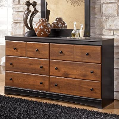 Ashley Furniture Signature Design - Aimwell Dresser - 6 Drawer - Two Tone Dark Brown - RUSTIC STYLE DRESSER: For fans of rustic, antiqued styles, this bedroom dresser hits the mark. The replicated, burnished cherry finish creates a sense of warmth. Lovingly distressed details give it charm SLEEK CONSTRUCTION: This sturdy 6-drawer dresser is designed with simple, clean lines that match with many decor styles. Made of engineered wood and veneers TWO-TONE FINISH: Drawer fronts are finished in a replicated, warm cherry grain. Top, rails and sides are finished in a darker espresso finish for cool contrast - dressers-bedroom-furniture, bedroom-furniture, bedroom - 51FVqRTzVVL. SS400  -