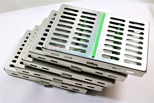 10 GERMAN DENTAL SURGICAL AUTOCLAVE STERILIZATION CASSETTE BOX FOR 10 INSTRUMENTS GREEN ( CYNAMED ) by CYNAMED (Image #3)
