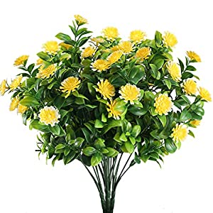 XYXCMOR Artificial Yellow  Flowers Fake Plastic Boxwood Leaf Shrubs Faux Outdoor Plants Indoor Outside Home Kitchen Patio Wedding Centerpieces Arrangements Farmhouse Decor Pack of 4 63