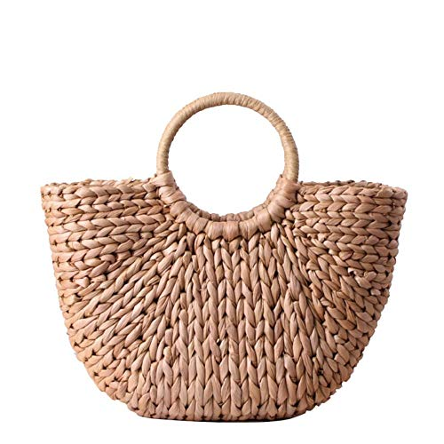 Women's Large Straw Bag Hand-Woven Round Handle Ring Tote Summer Beach Handbag (Brown)