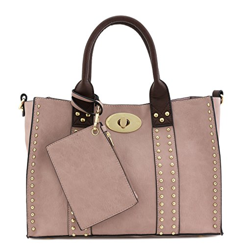 3pc Set Studded Turn Lock Tote B...