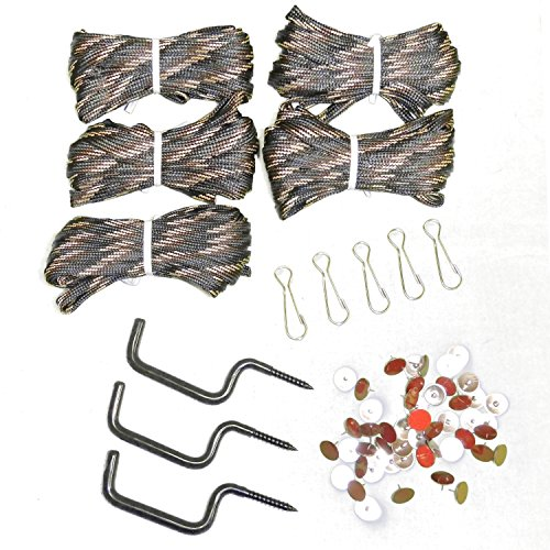- Treestand Hunter Pro Value Pack 5 Camo Pull Up Hoist Cords & Clips- 3 Screw In Gear Hangers - 50 Reflective Trail Marking Tacks