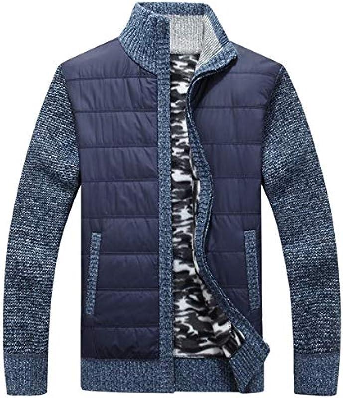 LLTT Winter-Männer Strickjacke-Mantel Thick Patchwork Cardigan Muscle Fit Gestrickte Jacken Männlich Kleidung Herbst (Color : Blue, Size : M): Küche & Haushalt