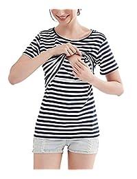 Womens Nursing Shirt Maternity Striped Tees Top Tank for Breastfeeding
