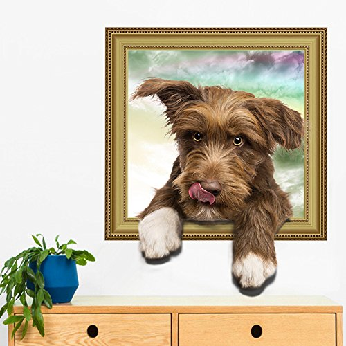 Holrea Creative 3D Dog Wall Stickers Removable Through The Wall Fun Wall Art Mural Decal DIY Cartoon Wall Poster Wallpaper for Kids Room Nursery Bedroom Living Room Decor 2#