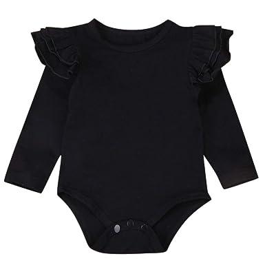 e76665597e0 Matoen Newborn Infant Baby Boys Girls Solid Ruffle Ruffled Flying Sleeves  Romper (3-6
