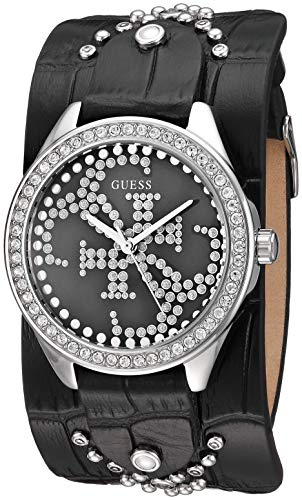 (GUESS Women's Stainless Steel Quartz Watch with Leather Calfskin Strap, Black, 35.4 (Model: U1140L1))