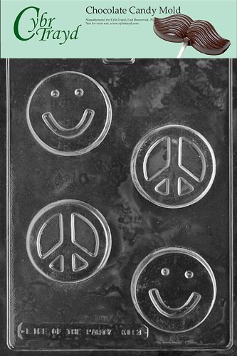Cybrtrayd Life of the Party K113 Smiley Smily Smile Face Peace Sign Soap Bar Chocolate Candy Mold in Sealed Protective Poly Bag Imprinted with Copyrighted Cybrtrayd Molding Instructions ()