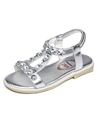 Bumud Kids Girl's Rhinestone Open Toe Ankle Strap Sandals Flat Shoes