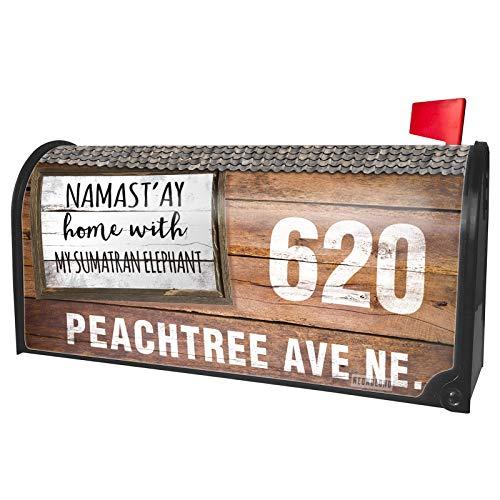 NEONBLOND Custom Mailbox Cover Namast'ay Home with My Sumatran Elephant Simple Sayings