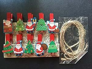 Papá Noel de Madera Ropa Papel Fotográfico pinzas, pinzas de madera Clips de fotos, manualidades de papel, decoración, fiestas de Navidad decoración, 120pieces