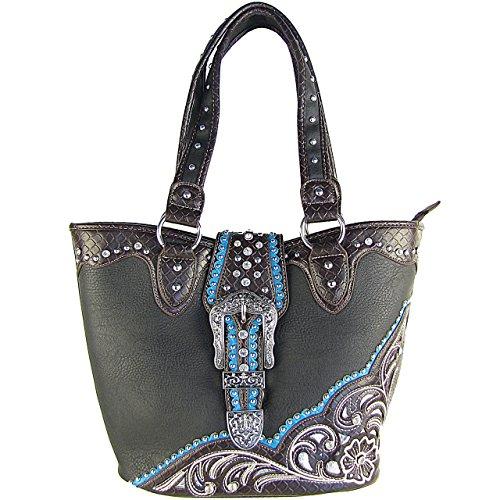 (Western Rhinestone Belt Buckle Bucket Tote Handbag Black)