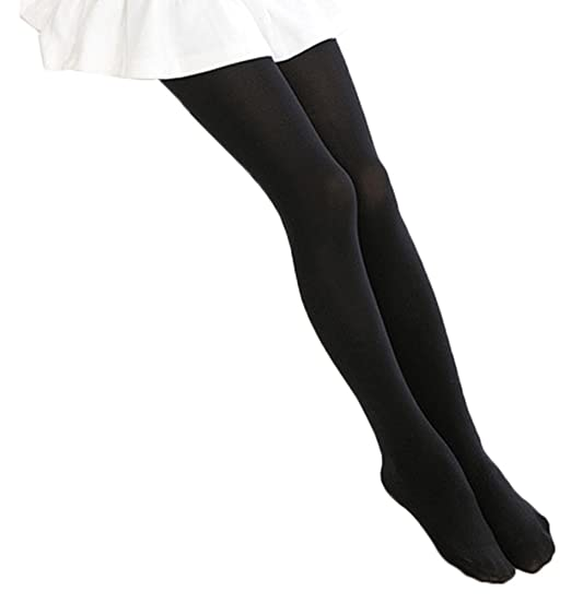 bcd0236e0be BogiWell Kids Girls Solid Footed Tights Seamless Opaque Pantyhose Stockings  Black(US 3-5Y