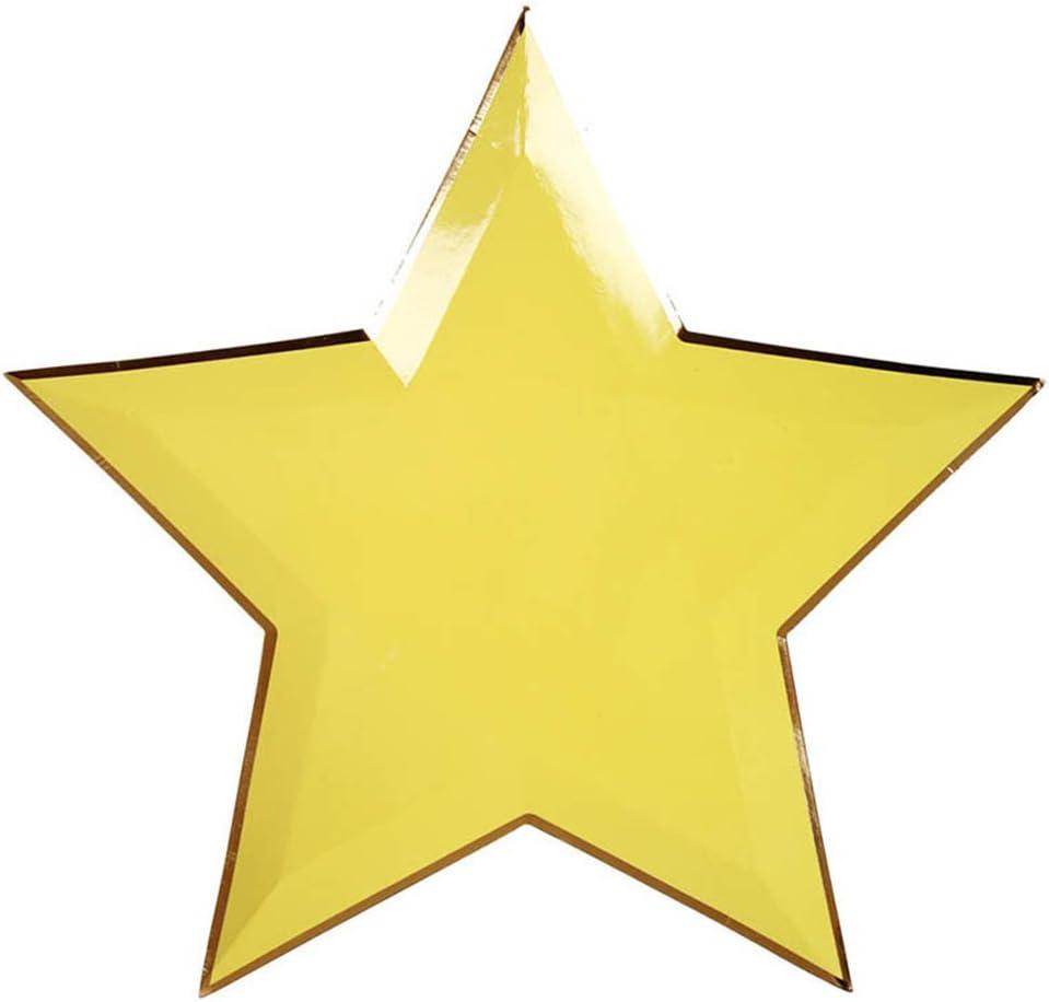 color dorado Golden 8 unidades dise/ño de estrellas Rycnet Plato de papel desechable