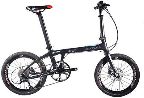 MEICHEN Bicicleta Plegable de 20 Pulgadas de la Bicicleta Plegable Plegable Bicicleta Plegable de Carbono de 20 Pulgadas con 105 22 Velocidad Mini Compacto de Bici,Blackblue: Amazon.es: Deportes y aire libre