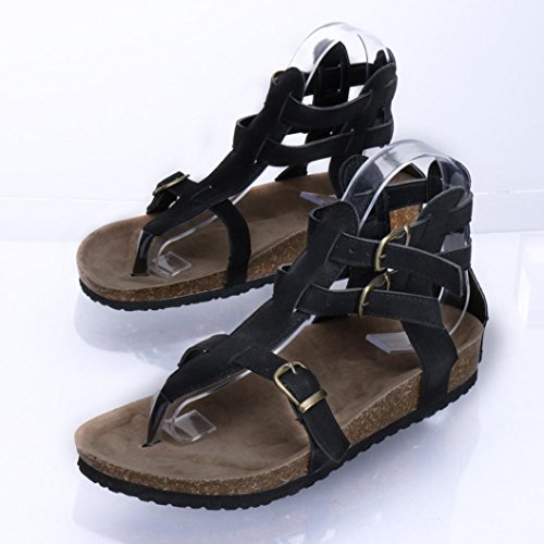 cm 1 donna Toe Casuale Scarpe Sandals corda zeppa Nero Eleganti Donna Peep Shoes Basso con Sandali UOMOGO Estivi Tacco Spiaggia Sandali fdSqxHwUS