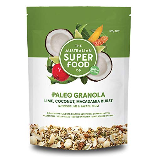 Gluten Free Granola Paleo Cereal | Grain Free, Plant Based Proteins from Nuts & Seeds | Vegan, Non-GMO with Lime, Coconut & Macadamia Burst by The Australian Superfood Co (320 g / 11.28 oz) 1