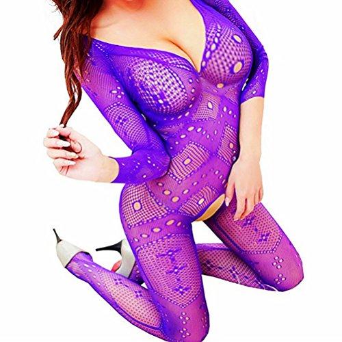 d55bf46787 Daisland Women Sexy Lingerie Sleepwear Nightwear Fishnet Bodysuits  Bodystocking (Purple0028) - Buy Online in Oman.