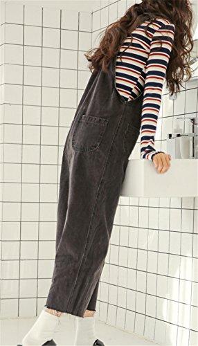 Sueltos Vaqueros Senora Mujer Anchos Pants Pantalones Petos Jumpsuit Cargo COCO Relaxed Monos Straigth clothing Vintage Jeans negro Botones les 8nqzFw