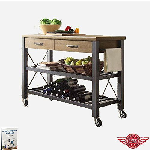 Wood And Metal Industrial Kitchen Cart: Kitchen Cart Utility,Portable Multipurpose Industrial