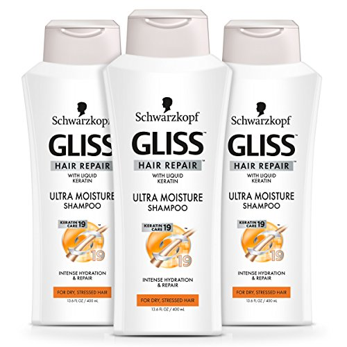 GLISS Hair Repair Shampoo, Ultra Moisture for Dry or Stressed Hair, 13.6 Ounces (Pack of 3) (Schwarzkopf Shampoo And Conditioner For Colored Hair)