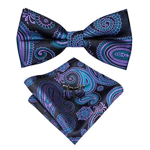 Hi-Tie Mens Classic Bow Tie Pocket Square and Cufflinks Set Wedding Bow Tie (Brown plaid)