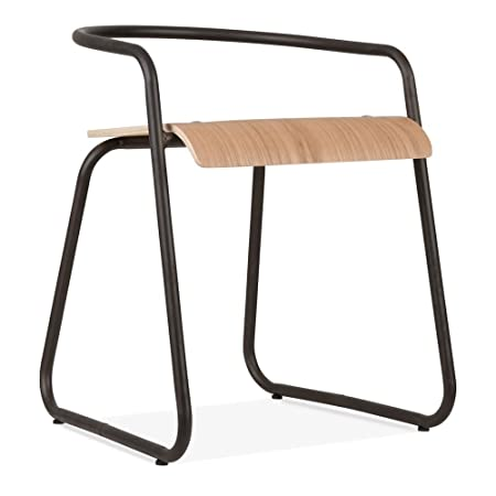 cult furniture pila metal half bistro chair bentwood seat rustic