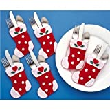 Christmas Stocking Silverware Pockets Felt Applique Kit-4x6 Set Of 6