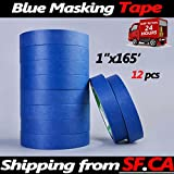 Blue Painters Tape Clean Release Trim Edge Finishing Masking Tape (1''x165',12 Rolls)