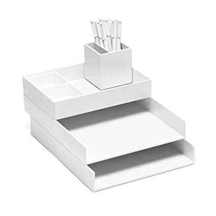 Super Stacked Desk Set, White (Letter Trays, Accessory Tray, This + That Tray, Pen Cup, Signature Ballpoint Pens)