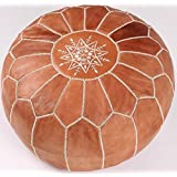 Stufed Leather Pouf , Ottoman, Moroccan Poof Tan & White