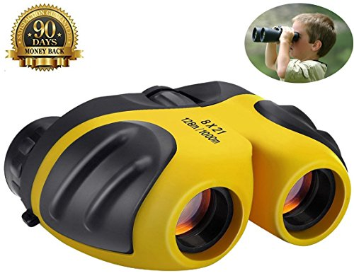 Binoculars for Kids,ANRAY 8 x 21 Outdoor Mini Compact Telescope, Animal Wildlife or Scenery,Game Watching,Image Stabilized Type Binocle, Best Gift for Children (Yellow) by ANRAY