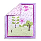 Dream On Me Spring Garden 5-Piece Reversible Portable Crib Bedding Set, Pastel
