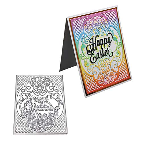 AkoMatial Cutting Dies,Happy Easter Flower Frame Design Embossing Cutting Dies Tool Stencil Template Mold Card Making Scrapbook Album Paper Card Craft,Metal
