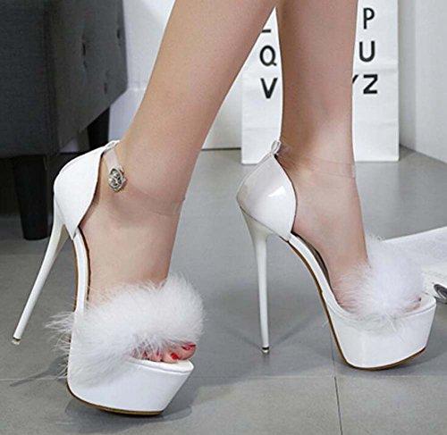 Party 16 34 Wedding Open 40 Eu Shoes Plush D'orsay Scarpin Strap Toe 5cm Shoes Dress Sandals White Size Ankle Pump Shoes BpxdqU6q