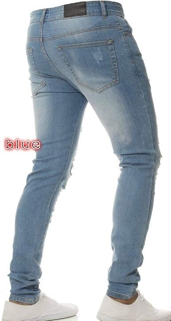 BYWX Men Fashion Stretchy Motorcycle Biker Ripped Jeans Long Pants