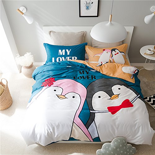 Mumgo Home Bedding for Adult Kids Lover 100% Cotton The Penguin Lover Pattern Duvet Cover Set with Personality Pillowcase,Not Include Comforter (Full/Queen Size-4 Piece, Flat Sheet) by Mumgo