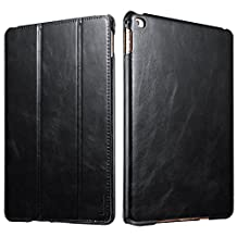 iPad Air 2 Case, [Vintage Classic Series] [Genuine Leather] Folio Flip Leather Case [Stand Feature] [Magnetic Closure] with Smart Cover Auto Sleep / Wake Function for Apple iPad Air 2 / iPad 6 (Black)