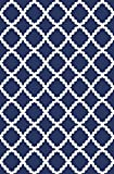 ADGO Non-Slip Rug Collection Rubber Back Washable Non-Skid Area Rugs | Throw Rugs for Entryway, Bedroom and Kitchen Thin Low Profile Indoor & Outdoor Floor Rug (4' x 6', AD10076 - Royal Blue White)
