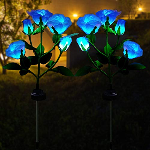 2 Pack LED Solar Garden Flower Lights, Realistic Rose Lights with 5 Flowers, 7 Color Changing RGB Solar Stake Lights, Waterproof Landscape Lighting for Outdoor, Yard, Patio, Pathway Decoration -