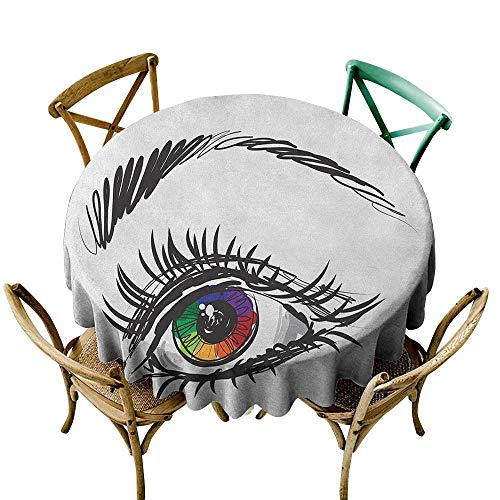 Wendell Joshua Mermaid Tablecloth 48 inch Eye,Eyeball of a Female in Many Colors Looking Elsewhere with Digital Sketch Art Style, Multicolor 100% Polyester Spillproof Tablecloths ()