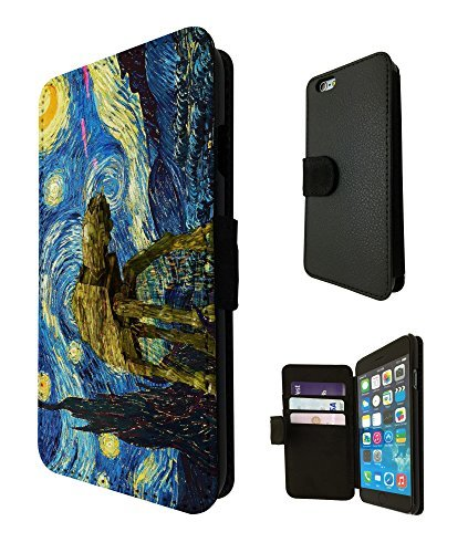 902 - Vincent Van Gogh Starry Night Star Wars robot Design iphone 5C Fashion Trend TPU Leather Case Full Flip Credit Card TPU Leather Purse Pouch Defender Stand Cover