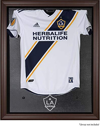 Sports Memorabilia LA Galaxy Brown Framed Team Logo Jersey Display Case - Soccer Jersey Logo Display Cases - Case Display Logo Browns