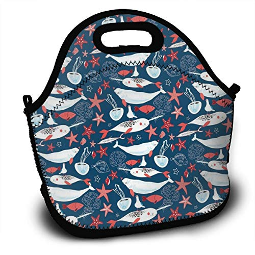 Dejup Lunch Bag Narwhal and Jellyfish Tote Reusable Insulated Lunchbox, Shoulder Strap with Zipper for Kids, Boys, Girls, Women and Men ()