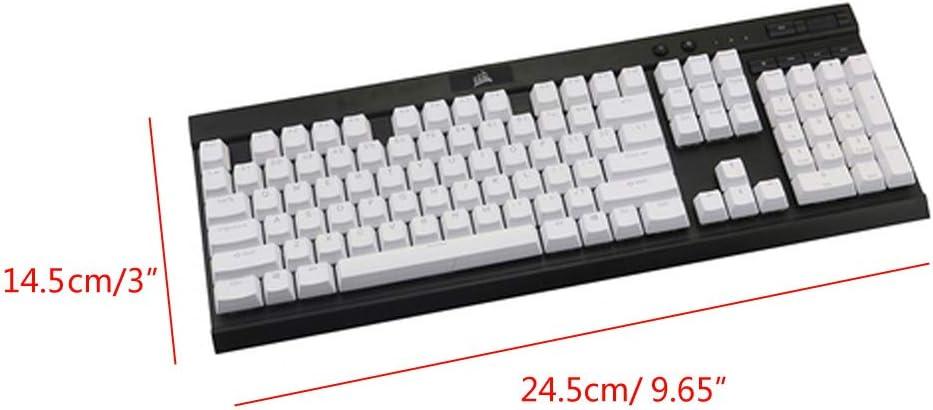 CUCUDAI Black White PBT Double Shot Backlit 104 Top-lit Shine Through Translucent Backlit keycaps for Corsair K70 K65 K95 RGB Mechanical Keyboard