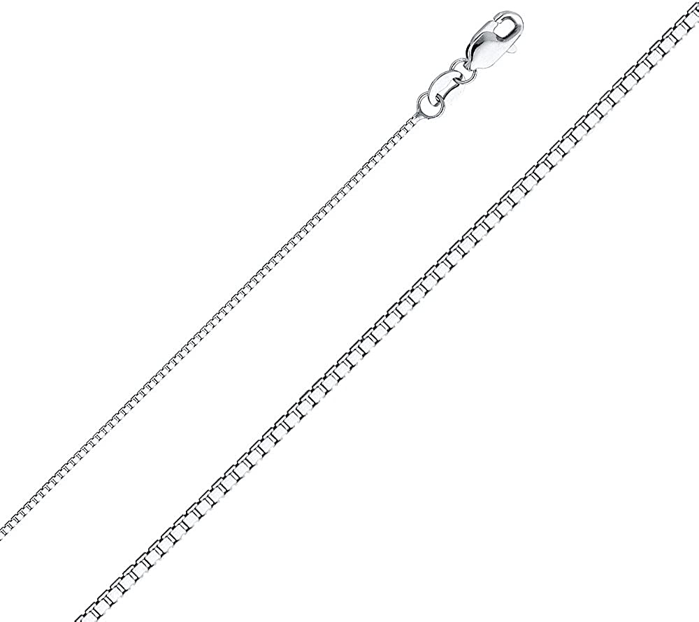 14K White Gold Religious Crucifix Stamp Charm Pendant with 1mm Box Chain Necklace
