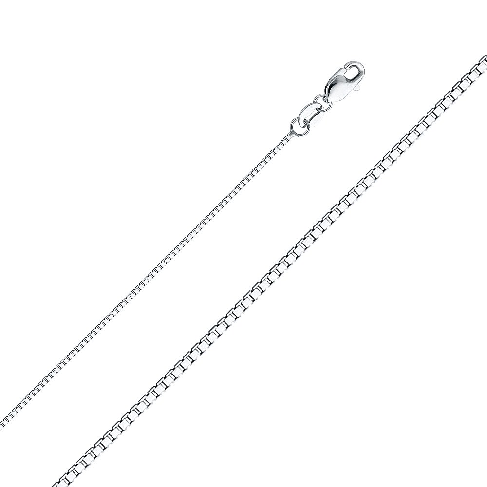 Christopher Protect Us Religious Charm Pendant with 1mm Box Chain Necklace 14K White Gold St