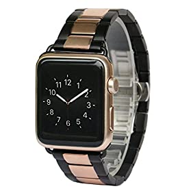AWSTECH New 42mm Stainless Steel Replacement Smart Watch Band Wrist Strap Bracelet with Butterfly Buckle Clasp for Apple Watch All Models - Black Rosegold